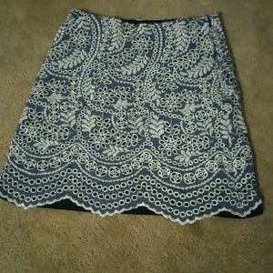 Crochet lined Navy and white skirt
